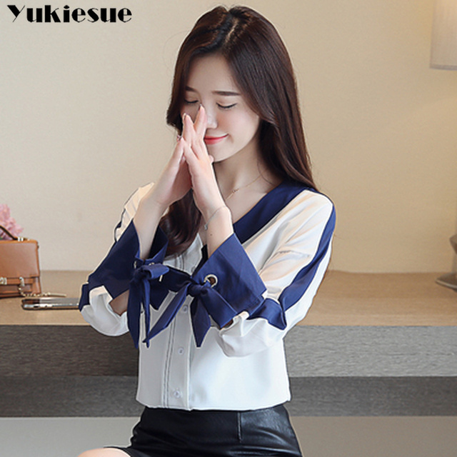 womens tops and blouses solid white chiffon blouse office shirt blusas mujer de moda 2020 long sleeve women shirts clothes 2