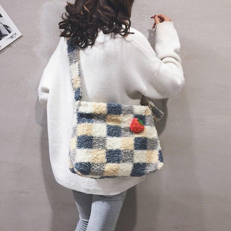 Berber Fleece Women'sFashion Baguette Bag Grid Design Ladies Single Shoulder Bag High Quality Crossbody Bags for Women