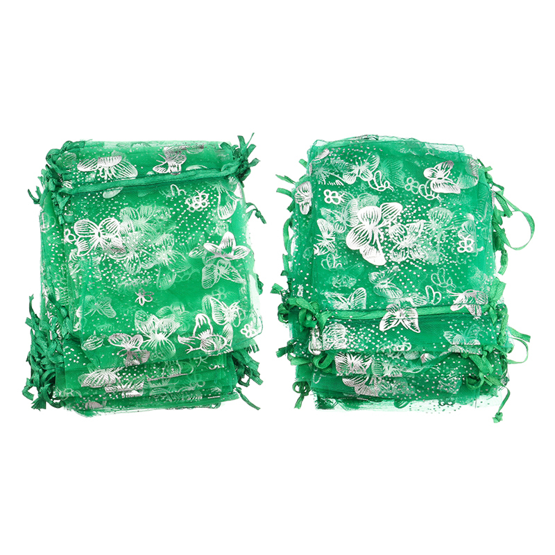 100pcs/set 7x9cm/9x12cm Butterfly Organza Bags Jewelry Packing Drawstring Pouch Christmas Wedding Decoration Voile Gift Bag