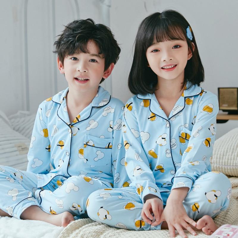 Spring Children Cute Pajamas Thicken Warm Cotton Sleepwear Girls Loungewear Coral Fleece Kids Pyjamas Boy Long Top+ Pant