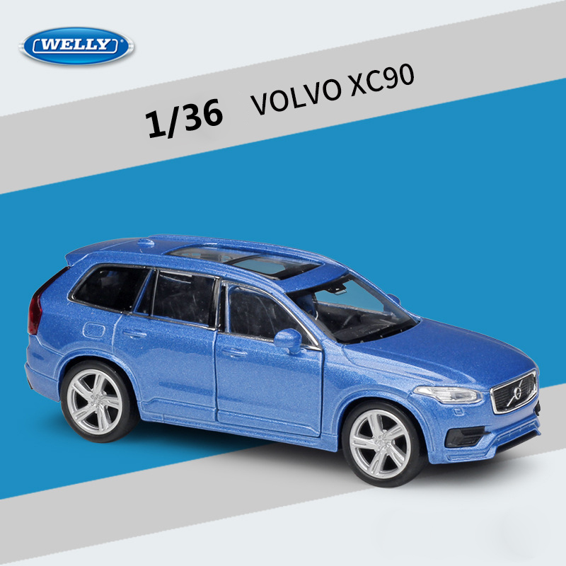WELLY Diecast 1:36 VOLVO XC90 SUV High Simulator Pull Back Car Model Car Metal Alloy Toy Car Vehicle For Kids Gift Collection