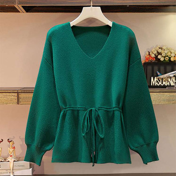 Elegant Office Lady Sweater Pullovers Casual 2020 Lace-Up Waist Lantern Sleeve Black Knit Sweater Women Autumn Winter V-Neck Top lace applique lantern sleeve cold shoulder top