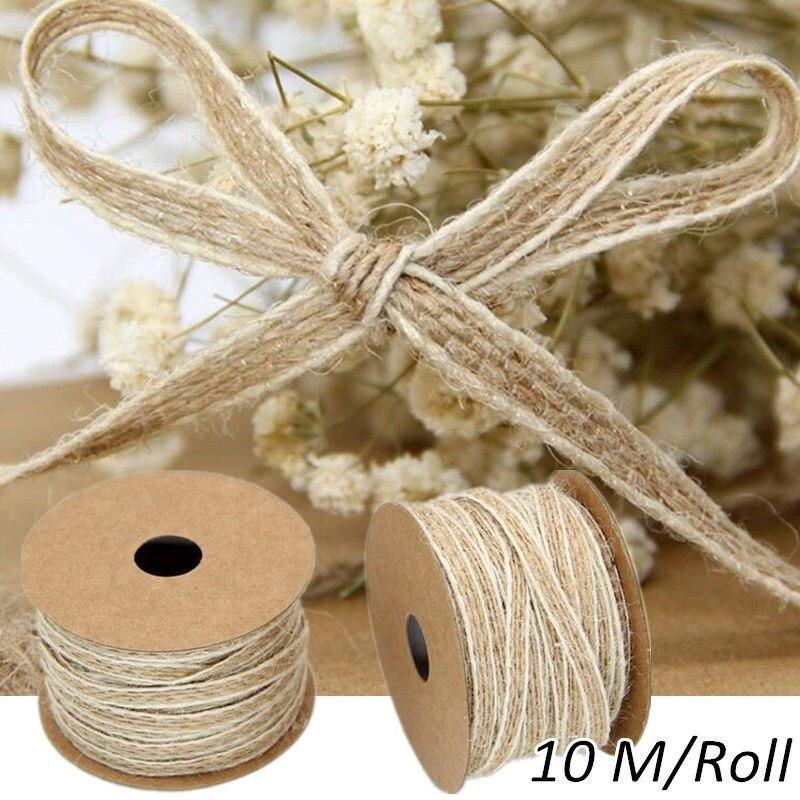 10M Hessian Burlap Wire Edge Ribbon for Wedding Christmas Craft Decor 2.5cm