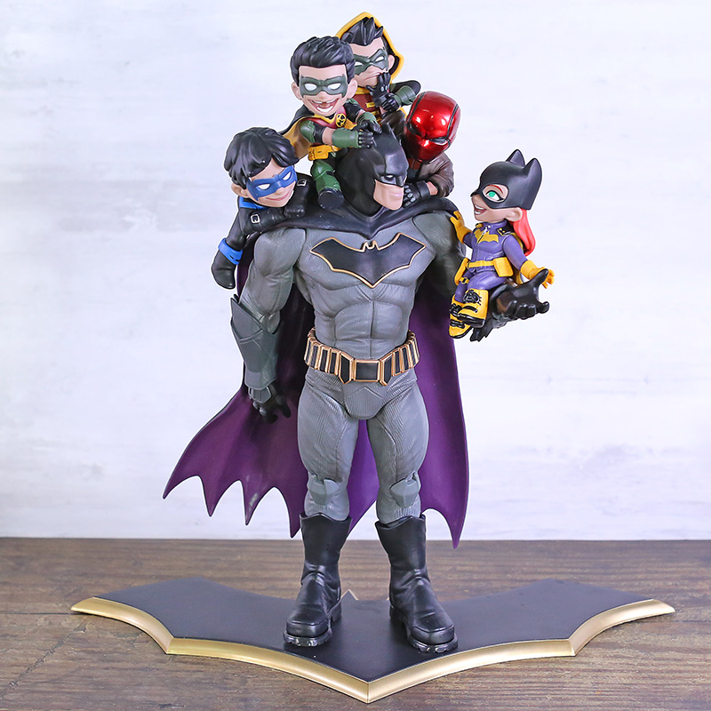 DC Comics Bat-man & Nightwing Red Hood Robin PVC Figure Model Toy Batman Family Statue