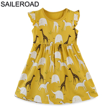 SAILEROAD/От 2 до 8 лет платье для маленьких девочек с животными; платья принцессы с короткими рукавами; Детская летняя одежда