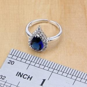 Image 5 - Ensembles de bijoux en Zircon blanc en argent Sterling 925, pour bagues de mariée, boucles doreilles, pendentif, collier, Bracelet