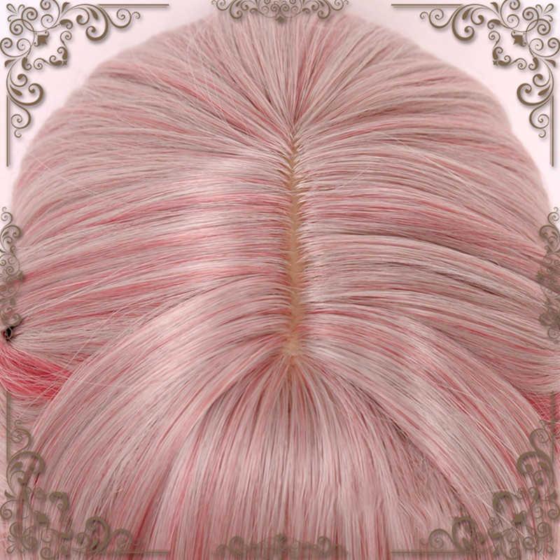 Onda Cosplay Lolita Parrucca Con La Frangetta Luce Rosa Capelli Sintetici Quotidiano Harajuku Cosplay Parrucche Per Le Donne Resistente Al Calore