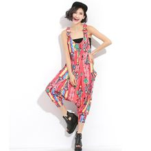 2020 New Summer Womens Printing Jumpsuit Boho Style Jumpsuit Female Loose Fit Rompers Streetwear Hip Hop Suspenders Pants(China)