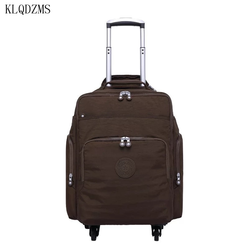 KLQDZMS Multifunction Boarding Suitcase Travel Oxford Waterproof Casters 16inch Men Large Capacity Spinner Rolling Luggage