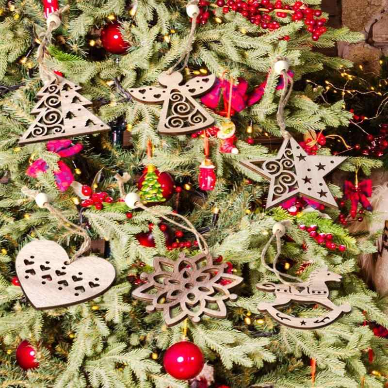 6pcs Nordic Style Christmas Pendant Tree Snowflake Horse Excellent Durable Birch Board and Plywood Angel Star Heart Shape