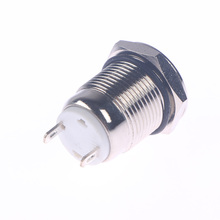 цена на 12mm Waterproof Momentary Flat Round Stainless Steel Metal Power Push Button Switch Metal Button Switch