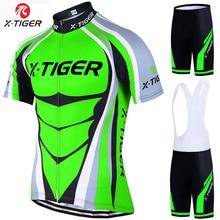 X 虎プロサイクリングジャージセットネオングリーン Mtb レーシングバイク服夏マウンテン自転車服サイクリングセットサイクリング着用