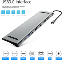 11 in 1 HUB 4K USB Type-C to USB 3.0 TF HDMI VGA RJ45 Mini DP Docking Station For Macbook For Huawei Samsung Xiaomi orico 5 in 1 aluminum docking station type c power delivery hub to vga hdmi 4k hd rj45 network converter usb for macbook pro