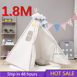 1.8M Portable Children's Tents Tipi Play House Kids Cotton Canvas Indian Play Tent Wigwam Child Little Teepee Room Decoration