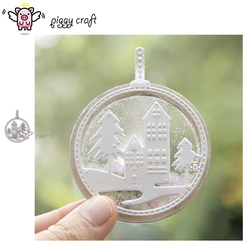Piggy Craft metal cutting dies cut die mold Christmas Ring Tag Tree House Scrapbook paper craft knife mould blade punch stencils