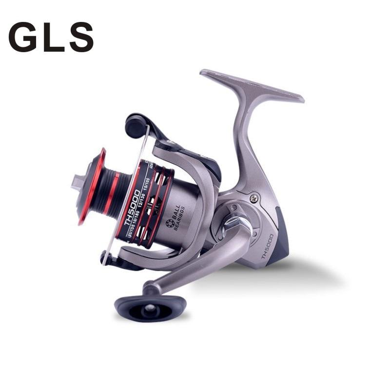 GLS marka TH serisi tam metal tel fincan, ana şaft, şanzıman hareketi, pirinç dişli çubuk çıkrık balıkçılık reel