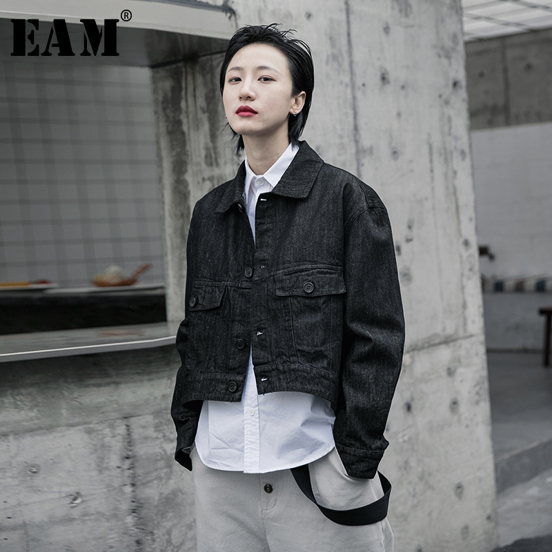 [EAM] Loose Fit Black Asymmetrical Big Size Denim Short Jacket New Lapel Long Sleeve Women Coat Fashion Tide Spring 2020 1R587