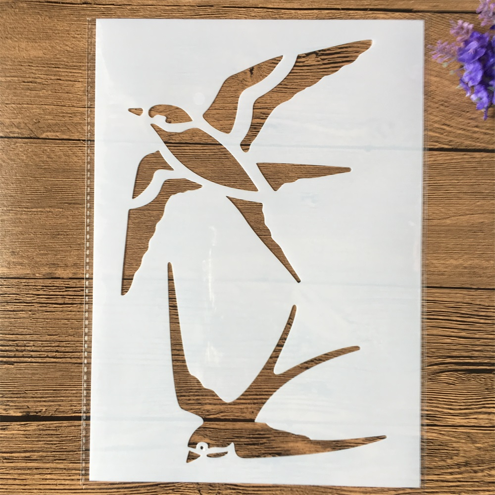 29cm A4 Swallow DIY Layering Stencils Wall Painting Scrapbook Coloring Embossing Album Decorative Template