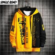 Yellow Hoodie Sweatshirt Oversized Japanese Streetwear Harajuku Singleroad Patchwork