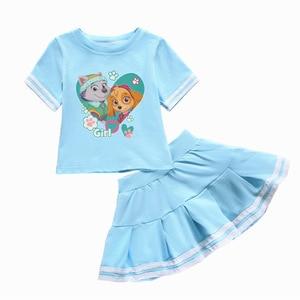 Image 4 - Genuine Paw Patrol Girls Baby Clothing Childrens Wear Summer Cotton Two Piece Round Neck Skirt T Shirt Set
