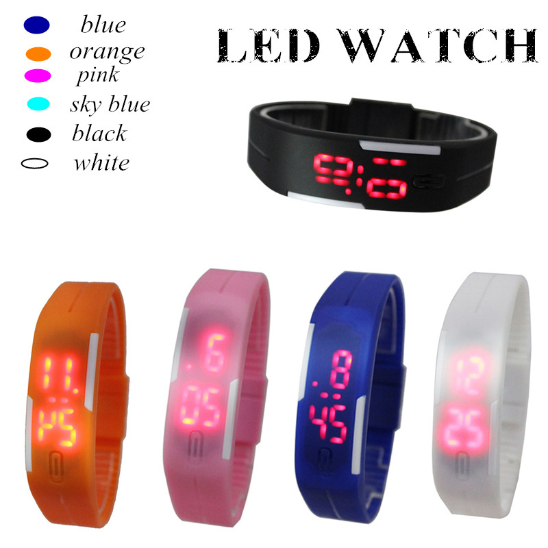 Fashion LED Touch Watch Children Watches Digital Silicone Jelly Stylish Rectangle Kids Watches Wristwatches Clock Saat Relojes