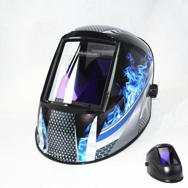 "Auto Darkening เชื่อมหมวกกันน็อกดูขนาด 98x88 มม.3.86x2.46 ""DIN 4 13 4 เซ็นเซอร์ EN379 หน้ากากเชื่อม"