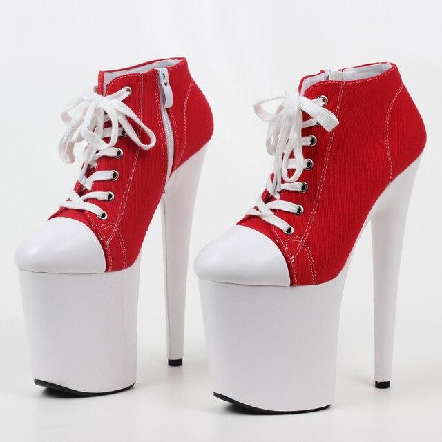 Фото jialuowei красные парусиновые кроссовки на высоком каблуке 20