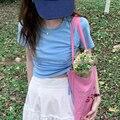 Футболка женская с коротким рукавом, модный Приталенный топ розового цвета, популярная одежда для девушек, лето 2021