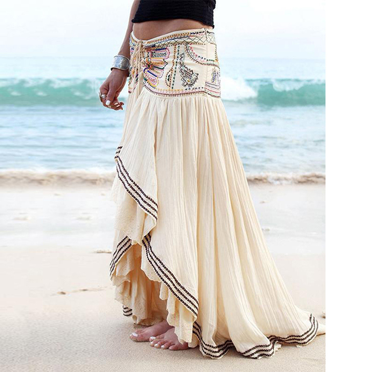 Jastie Hippie Sexy Embroidery Maxi Skirt Irregular Hem Vintage Faldas 2020 Summer Boho Beach Wear Casual Chic Women Long Skirts