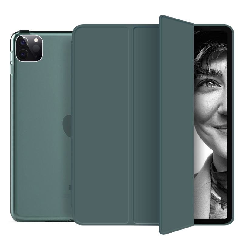 dark green Brown Funda For iPad Pro 2020 12 9 inch 4th Case PU Leather Trifold Stand PC Hard
