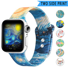 New Double Side Print Flowers Silicone Band for Apple Watch 38mm 40mm 42mm 44mm Sport Soft Strap Band for iwatch Series 5 4 3 2