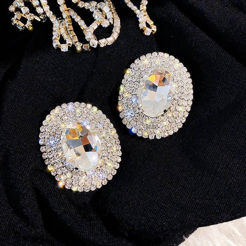 FYUAN Geometric Full Rhinestones Stud Earrings for Women Shine Oversize Round Crystal Earrings Weddings Party Jewelry Gift