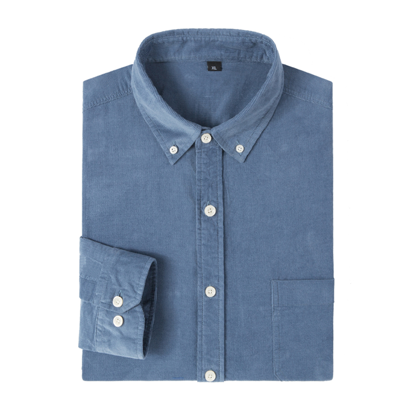 Image 5 - Mens Long Sleeve Standard fit Solid Corduroy Cotton Shirt Single Patch Pocket Comfortable Casual Workwear Button down ShirtsDress Shirts   -