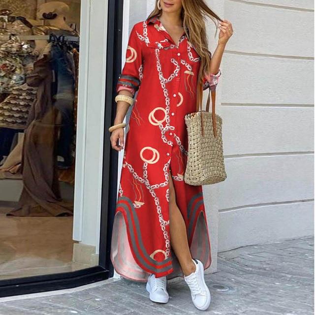 Модное женское платье-рубашка с длинным рукавом, осенние длинные платья с принтом OL, свободный сарафан с отложным воротником, вечерние платья 6
