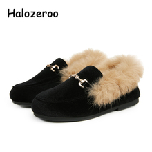 Winter Kids Fur Velvet Shoes Baby Girls Princess Flats Children Warm Brand Shoes Toddler Slip On Loafers With Buckle Moccasin 2019autumn new girls princess shoes suede metal square buckle child flats little kids female baby princess shoes with rhineston