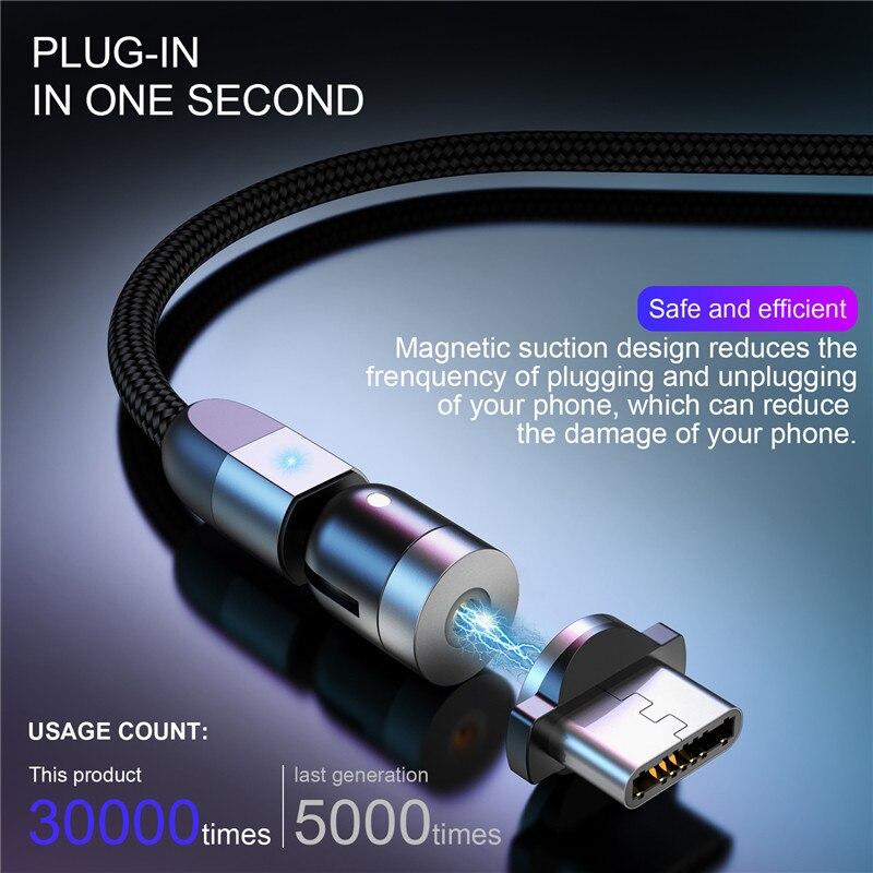 Магнитный usb-кабель USLION, кабель для быстрой зарядки типа C, Магнитный зарядный кабель Micro USB для мобильного телефона, USB шнур, новинка, вращение...
