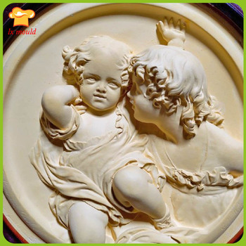 Beautiful two sisters relief mold aromatherapy soft pottery tools home candle piece silicone mold