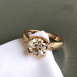Czysty 18K różowe złoto Moissanite pierścień 1ct 2ct 3ct luksusowy design 4 pazury pierścień VVS1 biżuteria ślubna pierścionek jubileuszowy okrągły cut