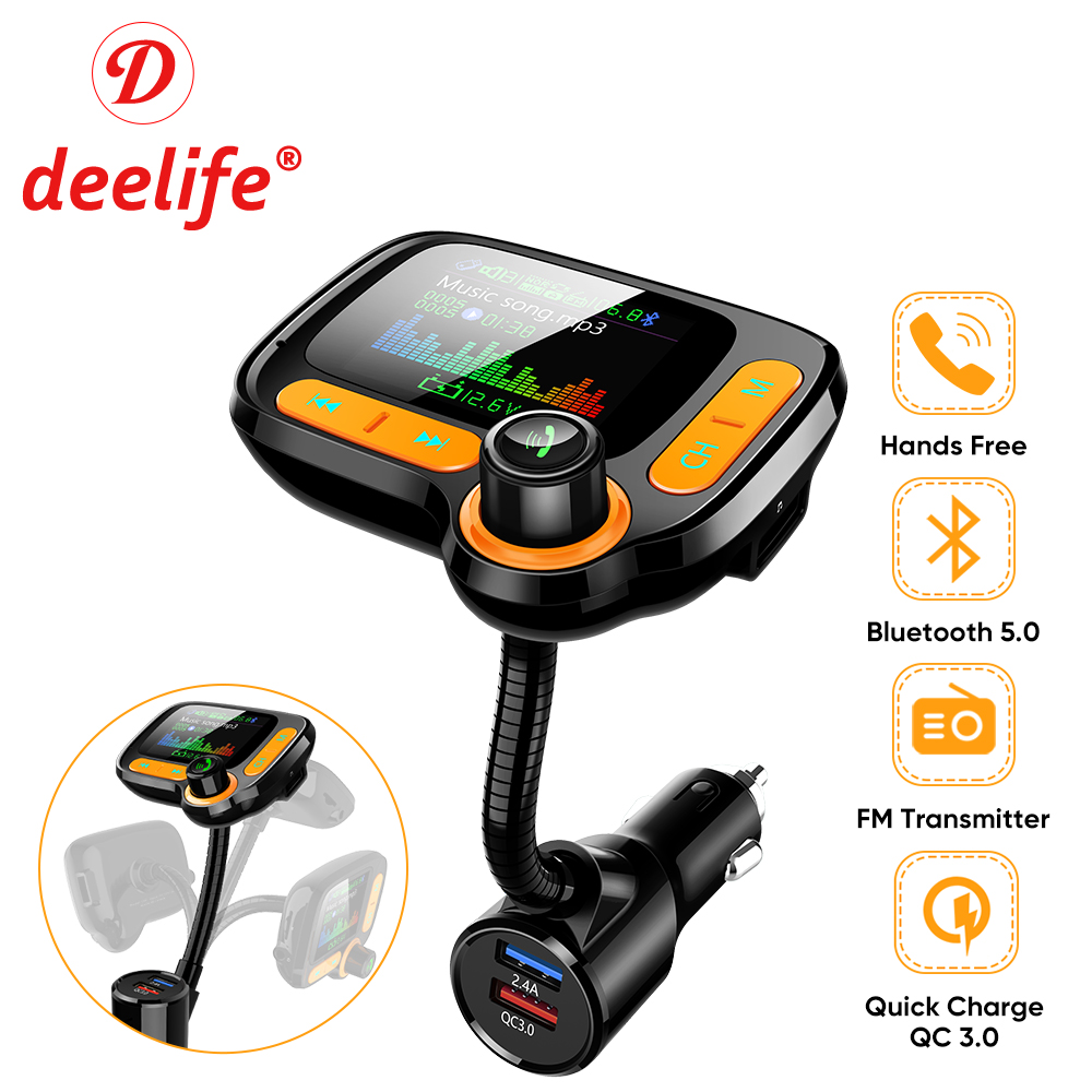 Hands-Free Calling Dual US B Port Adjustable Seven-Color LED Lights QC3.0 Fast Charging with Voltage Detection Car Charger Bluetooth Car Fm Transmitter