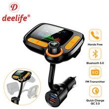 Deelife רכב MP3 נגן Bluetooth לרכב משדר FM מודולטור עם צבע מסך AUX אוטומטי מוסיקה מתאם QC 3.0 USB מטען