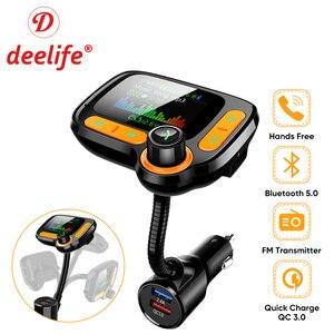 Image 1 - Deelife רכב MP3 נגן Bluetooth לרכב משדר FM מודולטור עם צבע מסך AUX אוטומטי מוסיקה מתאם QC 3.0 USB מטען