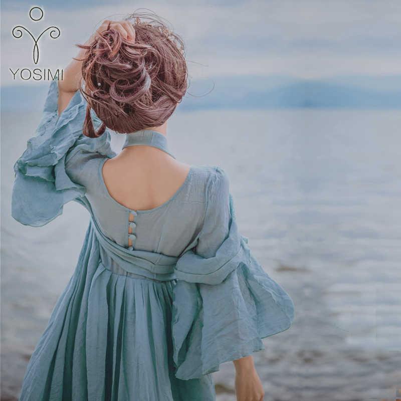 YOSIMI 2019 קיץ ארוך אישה שמלת מסיבת Maxi באיכות גבוהה אלגנטי פיות ארוך שמלת עבור נסיעות V-צוואר Loose קרסול- אורך שמלה
