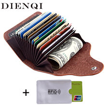 DIENQI retro genuine leather money clips wallet cardholder dollar money holder designer new men money bag purse 2018 fermasoldi(China)