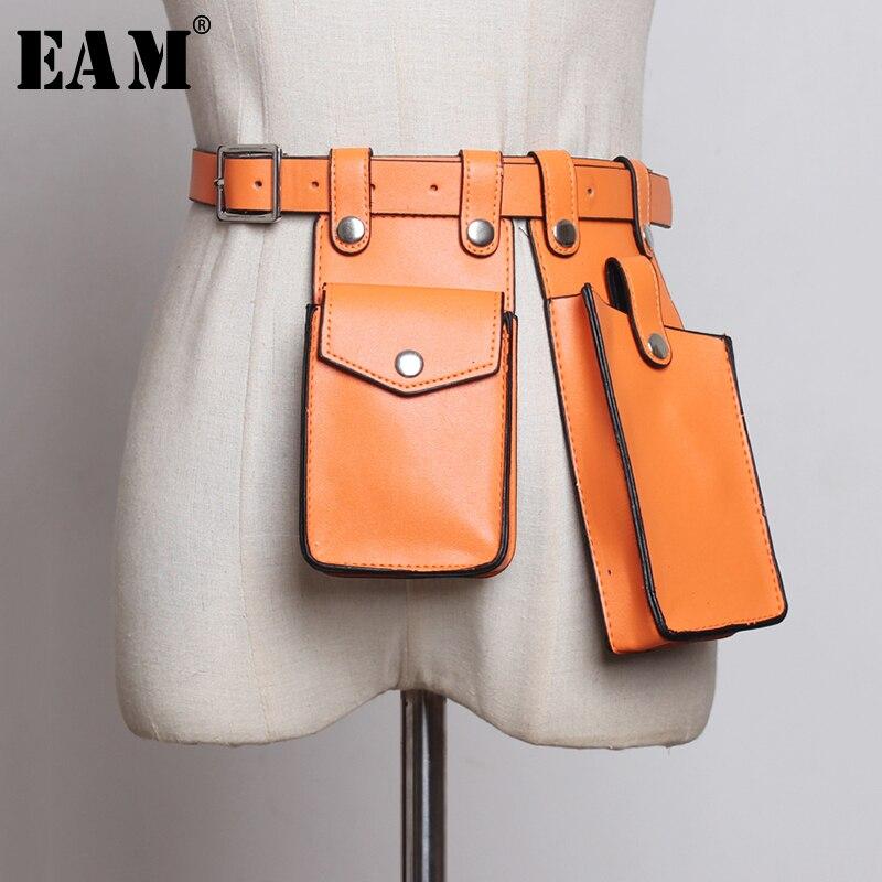 [EAM]  Multicolor Orange Mini-bag Split Joint Pu Leather Belt Personality Women New Fashion Tide All-match Spring 2020 1U220
