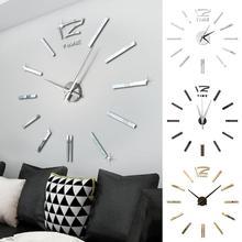 تصميم عصري صغير لتقوم بها بنفسك كبيرة ساعة الحائط ملصق كتم الرقمية ثلاثية الأبعاد ساعة الحائط الكبيرة غرفة المعيشة ديكور المنزل مكتب هدية الكريسماس