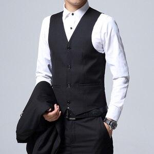 Image 4 - Herren Anzug 3 Stück Set Slim fit Männer Anzug Jacken + Hosen + Westen Hochzeit Bankett Männlichen einfarbig business Casual Blazer Mäntel