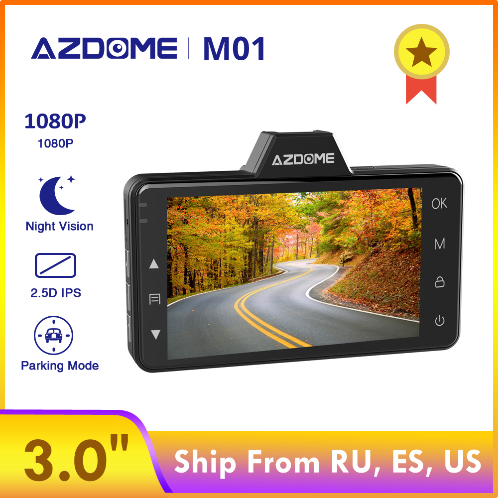 AZDOME Car DVR 2.5D Screen 1080P HD Dash cam M01 3-Inch Recorder Driver Fatigue Alert 170 View Angle G-sensor for <font><b>Uber</b></font> Lyft image