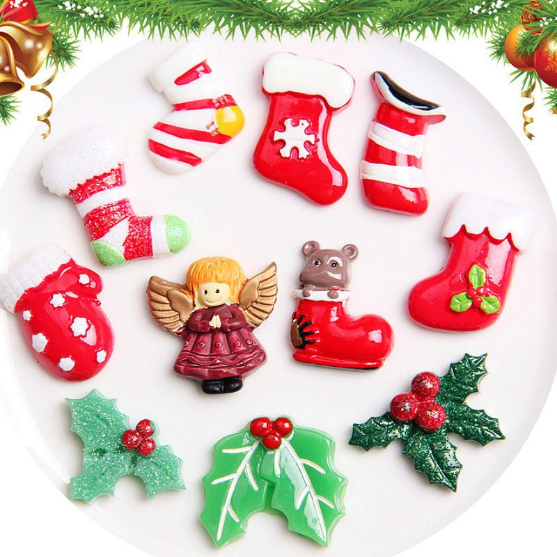 10 PCS Christmas Decoration Socks Angel Xmas Leaves Resin Ornament DIY Toy BM88