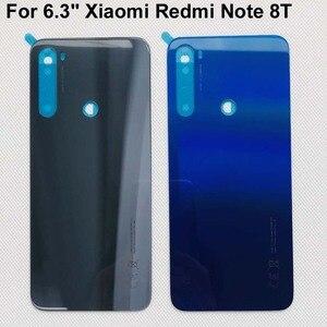 """Image 1 - 6.3 """"Xiaomi Redmi Note 8T 유리 백 배터리 커버 케이스 + 3M 접착 스티커 Redmi Note 8T 케이스"""