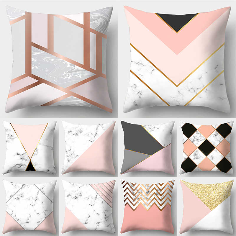 wzh marble texture geometric design cushion cover 45x45cm polyester decorative pillow cover sofa bed pillow case